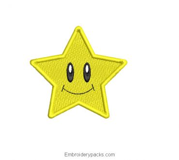 Yellow star embroidery with smiley face